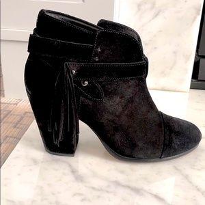 RAG & BONE Harrow black suede fringe ankle boot